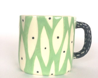 Ceramic handmade Mug- new leaf pattern.
