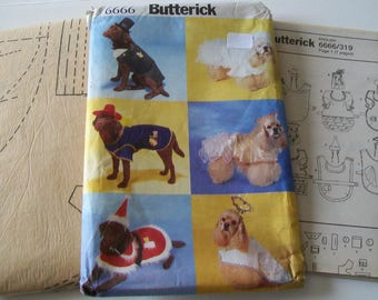 Butterick 6666 Dog Clothes Costume Sewing pattern Uncut FF Holiday Bride Groom Sheriff Angel Queen Santa