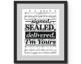 "Signed, Sealed, Delivered I'm Yours Wall Art Typographic Print - 8x10"" or 11x14"" Stevie Wonder Song Lyrics Typography Sheet Music Wall Art"