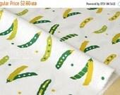 Japanese Fabric - peas canvas - green, white - fat quarter
