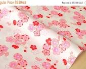 Japanese fabric ume blossom cotton crepe - cream, pink, red - 50cm