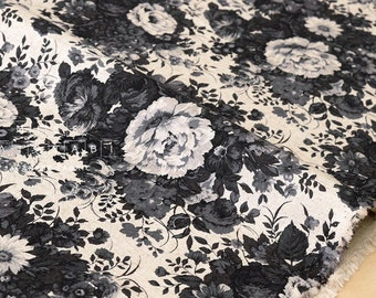 Japanese Fabric Yuwa Antique Flowers canvas - black - 50cm