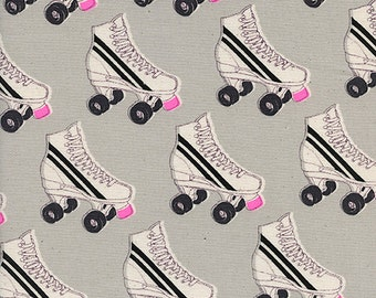 Cotton + Steel Black and White - roller rink - neon pink - fat quarter
