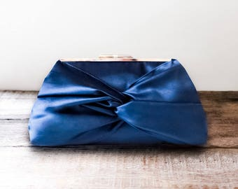 Navy Knotted Bow Satin Wedding Clutch with Metal Clasp For Bridesmaid- Personalization Available