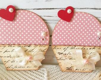 Vintage style Pink Paper Cupcake Embellishments set of 2