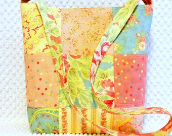 Shabby Cottage Chic Pink and Yellow Handmade Poetry Patchwork Purse