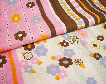 Pink Brown Striped Floral Polyester Fabric, 2 Yards