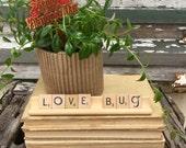 Valentine LOVE BUG Vintage Scrabble Sign