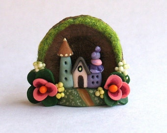 Miniature  Charming Whimsy Fairy House Colony Diorama in Tiny Acorn Cap OOAK by C. Rohal