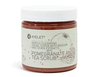 Pomegranate Balancing Exfoliating Facial Scrub  Organic Facial Scrub  Antioxidants Scrub  Exfoliating Scrub  Dry Skin Facial Scrub 