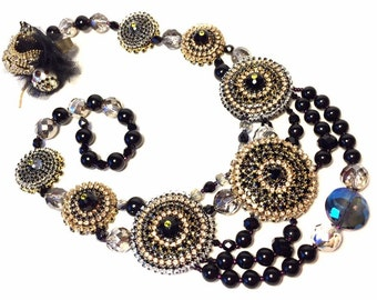 Medallions Statement Necklace, Black, gold and crystal tones