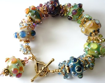 Lampwork Bracelet, Multicolored, Green, Blue, Aqua, Purple, Raised Dots, Gold Bracelet. Rainbow, Crystal Clusters, Beaded Bracelet, OOAK
