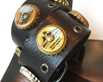 Leather Dog Collar with Golden Bottle Caps, Size L, to fit a 18-21 Neck, Large Dog, EcoFriendly, Collar for Big Dog, Seattle Handmade, OOAK