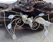 ON SALE Frost White Aurora Elf Ear Cuff Wrap Pair or Single, Bridal Ear Cuff
