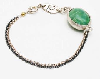 Oval green turquoise silver bracelet with bezel set turquoise gemstone