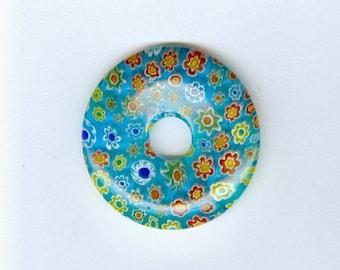 Aqua Millefiori Pendant 35mm Aqua Blue Millefiori Flower Glass Pi Donut Focal Pendant Bead 589