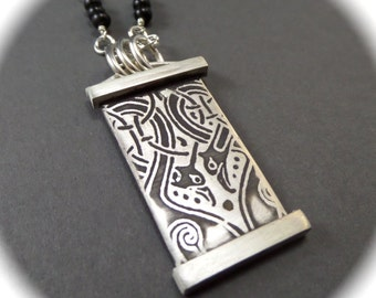 Sterling and Black Onyx Book of the Gospels of MacRegol Irish Scroll Pendant with Rosary Chain