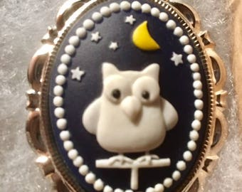 OWL CAMEO pin set in Silver tone 30 X 40MM speciality cameo Blue background white owl unusual cameo