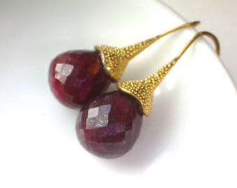 Gorgeous Large 17mm Sparkling RUBY Drop Earrings in Gold Vermeil...