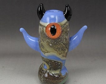 ON SALE Handmade Lampwork Glass Alien Focal Bead by Jason Powers SRA