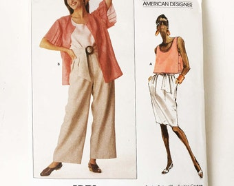 Vintage Adri Sewing Pattern 1980s Vogue American Designer 2298 Jacket Top Skirt High Waist Pants Belt 32.5 Bust Size 10