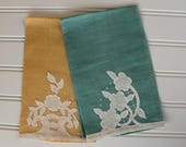BIG SALE - Vintage Finger Tip Towels - Tea Towels - Green Yellow - Hand Appliqued, Pair