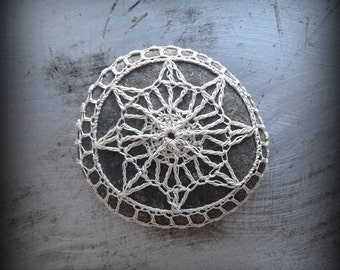 Home Decor, Crochet Lace Stone, Table Decoration, Nature, Handmade, Original, Small, Monicaj