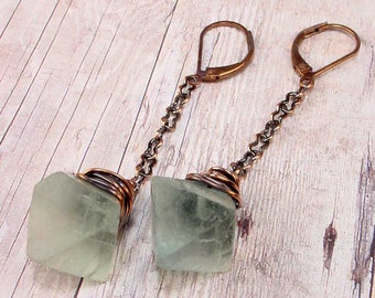LAMPLIGHTER Earrings - Green Natural Raw Rough Fluorite Crystals, Copper, Lever Backs