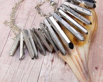 MYSTIC SILVER - Metallic Silver Treated Natural Quartz Crystals Fan Necklace