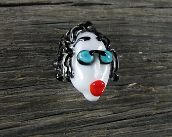 Lady With Sunglasses...Handmade Lampwork Focal Head Bead...Ladies of the Flame.. SRA