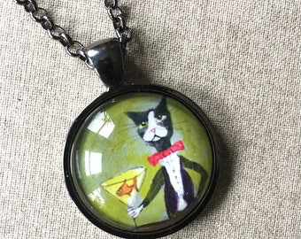 Bartender Tuxedo Cat Necklace -  Cat Jewelry - Silent Mylo Tuxedo Cat Necklace - Cat with Martini - Funny Cat Art - Gift for Cat Lover