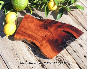 Natural Mesquite Wood Cutting Board or Serving Platter, live edge log slab, FREE shipping!