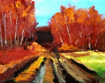 Autumn Landscape Oil Painting, Original 6x8 Canvas, Fall Trees, Country Road, Yellow Brown Gold, Small Rural Scene, Woodland Forest