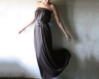Long dress, Maxi dress, Tunic dress, Strapless dress, Loose dress, Cotton dress, Belted dress, Brown Summer dress, Women dress, Custom dress