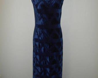 Vintage 90's velvet long maxi dress gown   blue    womens women clothing clothes