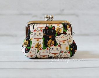 Small Frame Coin Purse Kawaii Manekineko Cat Green Rosary Case Earbud Case Earbud Holder Clasp Change Purse