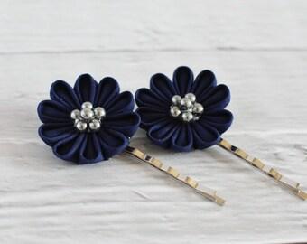 Special 2 Floral Bobby Pins Midnight Blue Tsumami Kanzashi