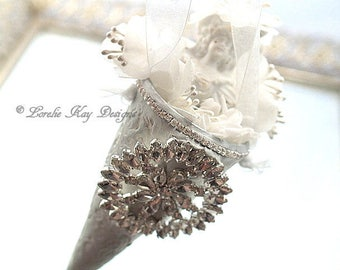 Romantic White & Silver Rhinestone Tussie Mussie Cone Ornament Shabby Spring Decoration Mixed Media Lorelie Kay Original