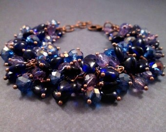 Heart Bracelet, Cobalt Blue and Purple, Cha Cha Style Bracelet, Copper Sweetheart Bracelet, FREE Shipping U.S.