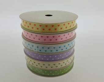 CLEARANCE - 6 spools (30 yards) - 3/8 inch Grosgrain Ribbon  Polka Hearts Sampler Pack (RANDOM Mixed) - Variety