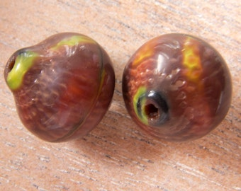 Vintage West German Rare Brown and Lime Green Large Pebbled Art Glass Beads - 17mmx16mm - Pair