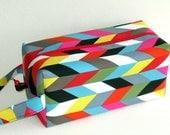 Bigger Boxy Bag Knitting Project Bag - Ziggy multicolor chevron