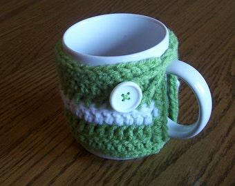 Hand Crochet Light Green and White Coffee Mug Cozy