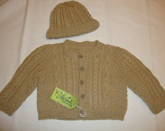 Hand Knit Cabled Baby Cardigan Sweater and Cap