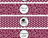 Printable Maroon Graduation Water Bottle Wrappers - Instant Download