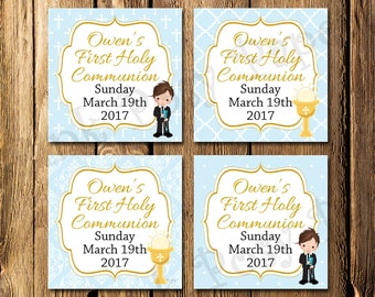 Printable Blue Boys First Communion Gift Tags