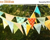 FLASH SALE 40 Percent Off SAVE on a Double Length banner, 18 Flags. Colorful Fabric Bunting Banner Prop Decoration in Orange, Green, Yellow