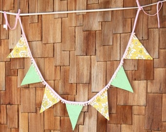 HALF OFF Yellow and Green, Pompom Trimmed Fabric Flag Bunting, Shabby Chic Banner Featuring 7 Large Flags. Garland Banner, Photo Prop, Decor