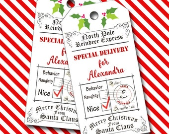 Special Delivery from Santa, Christmas Tags, Personalized Tags  - Set of 8