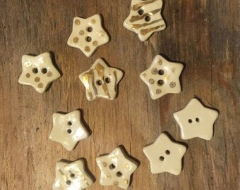 FREE SHIPPING Set of 10 Handmade Mini Ceramic Buttons - Stars